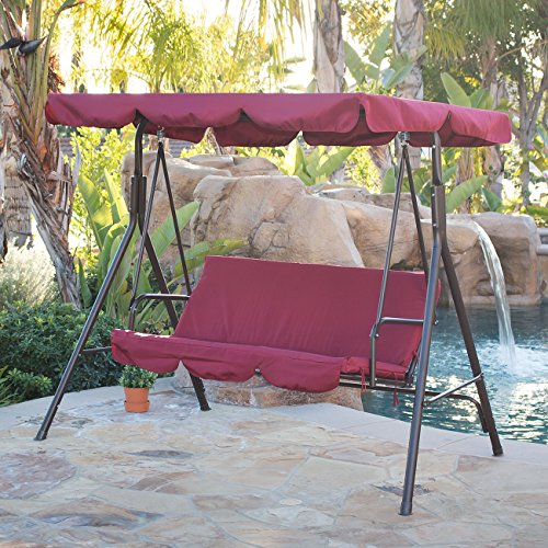 Belleze 3 Person Patio Swing Outdoor Canopy Awning Yard Furniture Hammock Steel (Burgundy)