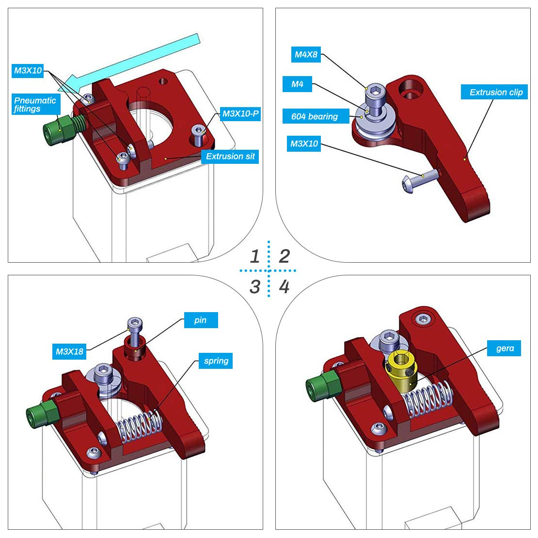 CR-10 CR-10 Extruder Upgraded Replacement 3D Printer Extruders for Creality ENDER3 CR-10S CR-10 S5 Right Hand CR-10 S4 CestMall Ender 3 Extruder MK8 Extruder Aluminum Drive Feed