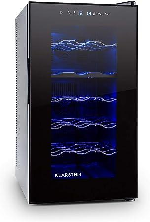 Klarstein Vinesse Wine Edition - Nevera para vinos, Vinoteca, 50L, 2 zonas de refrigeración:, 8-18 °C, 12-18 °C, 18 Botellas, Iluminación LED, Puerta de vidrio, Patas ajustables, Negro
