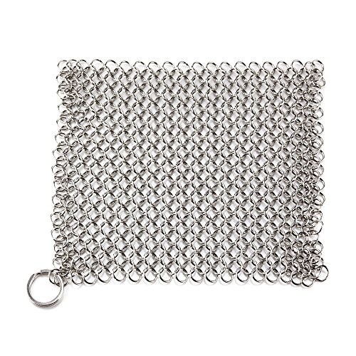Chainmail Scrubber - Famecame Cast Iron Cleaner 8x6 inch...