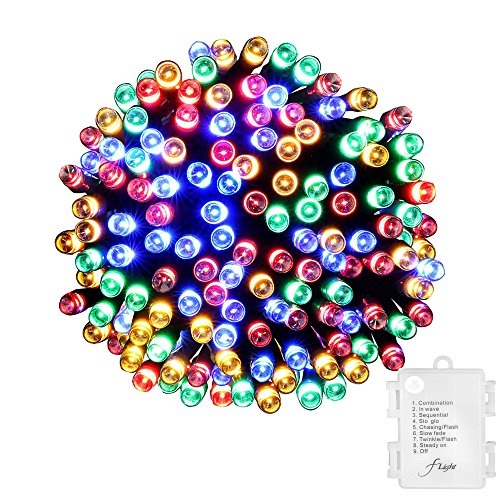 Airliner Christmas String Lights,8 modes 3AA Battery-Operated Powered 33ft 100LED Waterproof Decorative Fairy LED Light for Seasonal Holiday,Patio,Yard,Dinner party (Multi-Color)