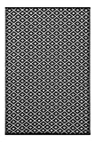 Lightweight Outdoor Reversible Plastic Rug Arabian nights Black/White - 120 cm x 180 cm (4ft x 6ft)