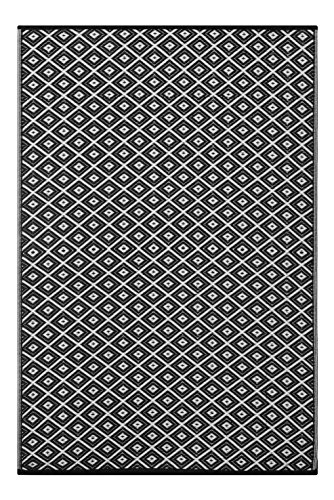 Lightweight Outdoor Reversible Plastic Rug Arabian nights Black / White - 150 cm x 240 cm (5ft x 8ft) by Green Decore