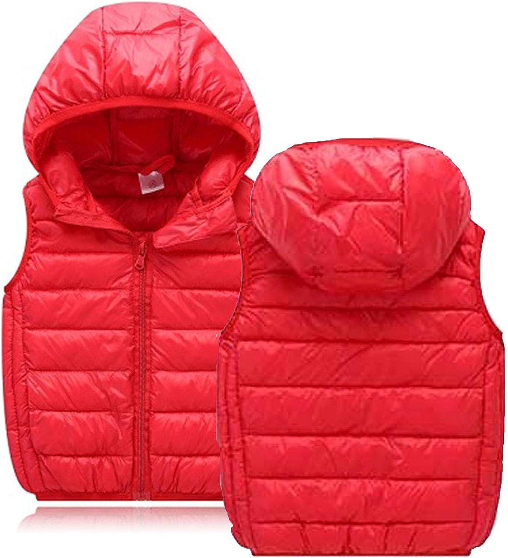 LANBAOSI Boys Girls Winter Hooded Puffer Vest Kids Lightweight Sleeveless Jacket