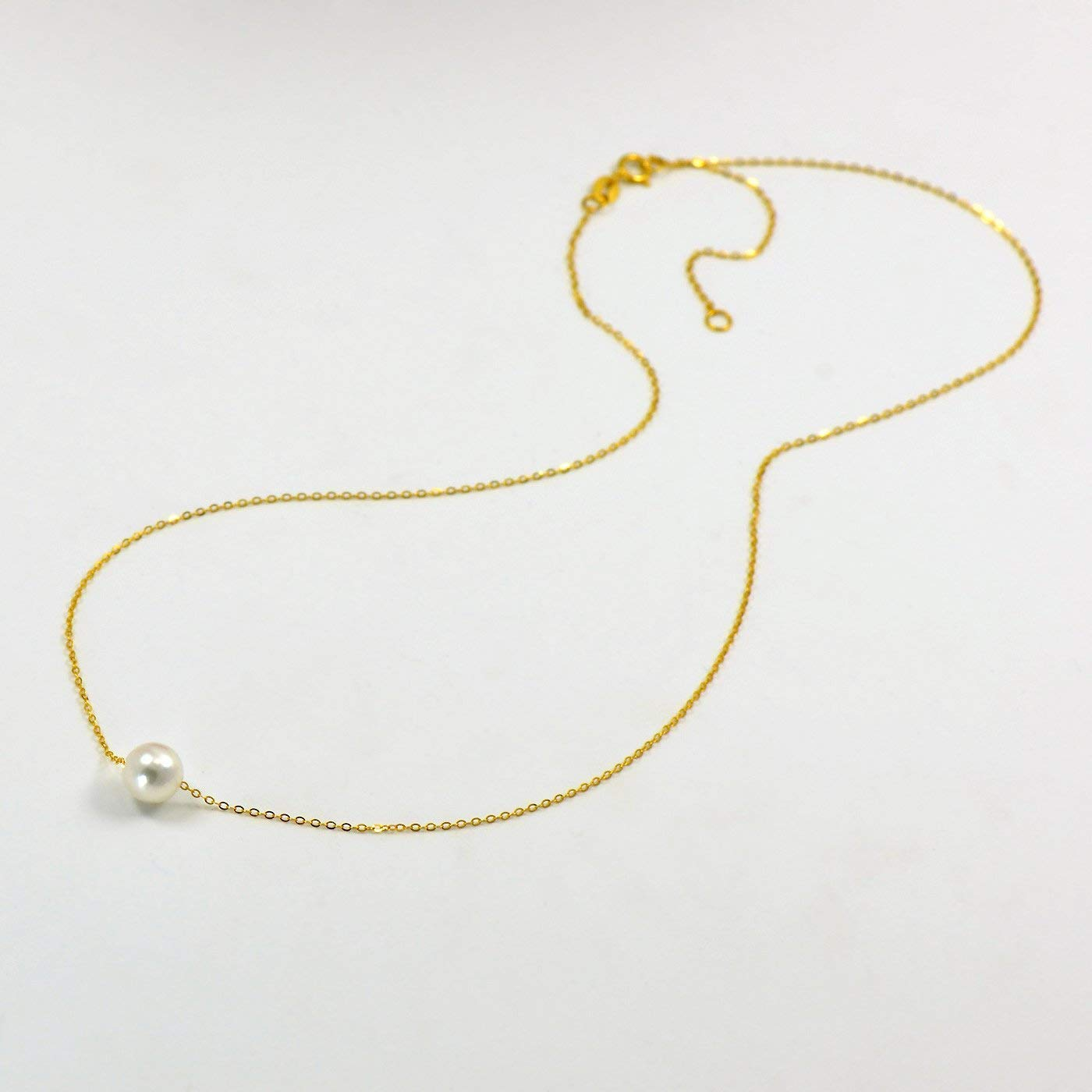 18K Yellow Gold Chain Necklace Single Cultured Japanese Akoya Pearl 7-8MM