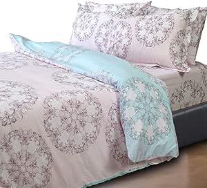 Essina King Size Quilt Cover Duvet Cover Doona Cover Set 3pc Kensington Collection, 100% Cotton 620 Thread Count, Pillow Sham, Cotton Floss