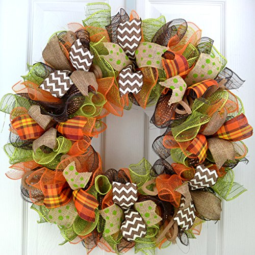 Fall Thanksgiving Deco Mesh Door Wreath; Brown Green Orange Burlap : F1