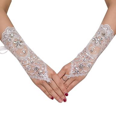 Westeng Gants Mitaines Dentelle Gants Mitaines Diamanté Artificielle Gants  de Mariage pour Femme Blanc 0fb039d46bbc