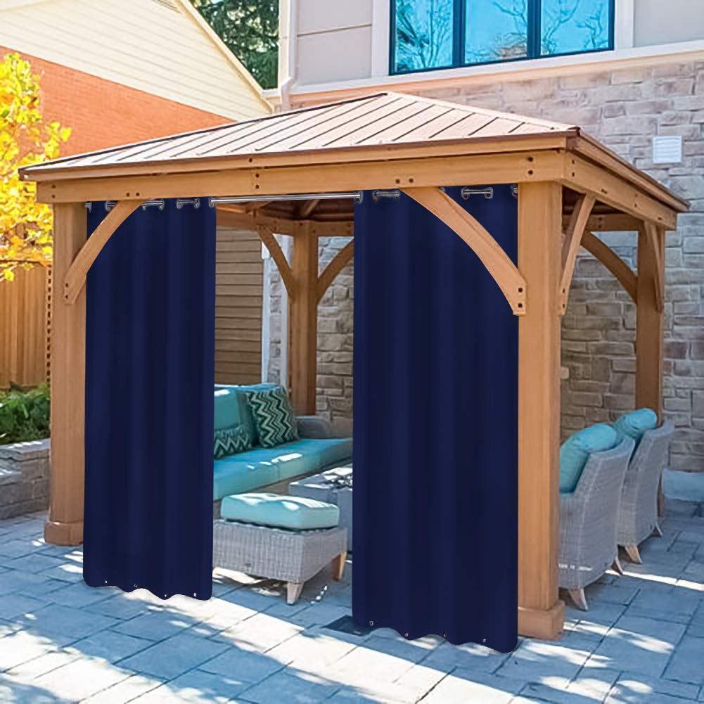 Pro Space Outdoor Curtains Room Dividers Screens - 2 Panels Windproof Mildew Resistant Grommet Top & Bottom for Pergola/Front Porch (50'' W by 96'' L, Navy)