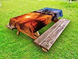 Lunarable Nature Outdoor Tablecloth, The Time When The Sun Disappears or Day Fading Image with Oak Tree Mirror Effect, Decorative Washable Picnic Table Cloth, 58 X 104 inches, Orange Blue