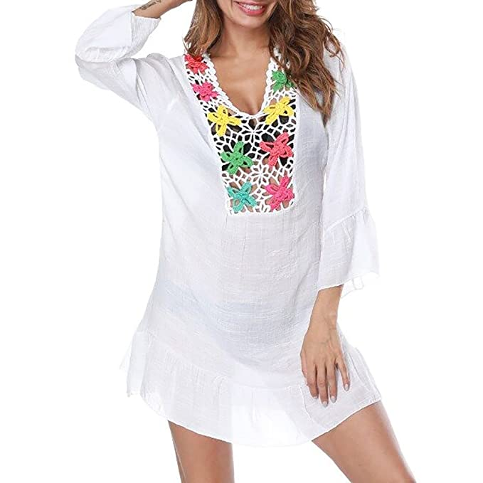 iBaste Boho Mujer Túnica Faldas Largas Blusas Sexy Vestido de Playa con Colorido Flor Ganchillo Blanco Bikini Cover up: Amazon.es: Ropa y accesorios