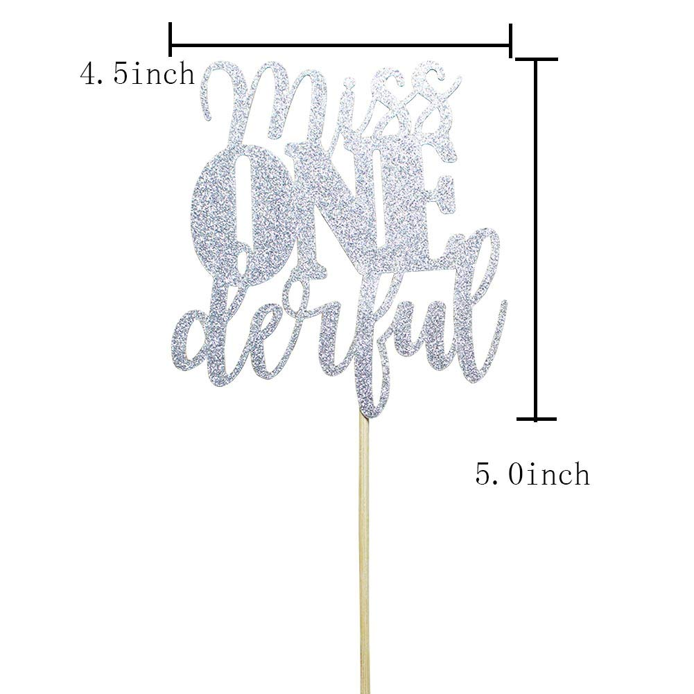 miss ONEderful for One Year Old Boy Baby Shower 1st Birthday Cake Topper Birthday Party Decorations Silver Glitter KF