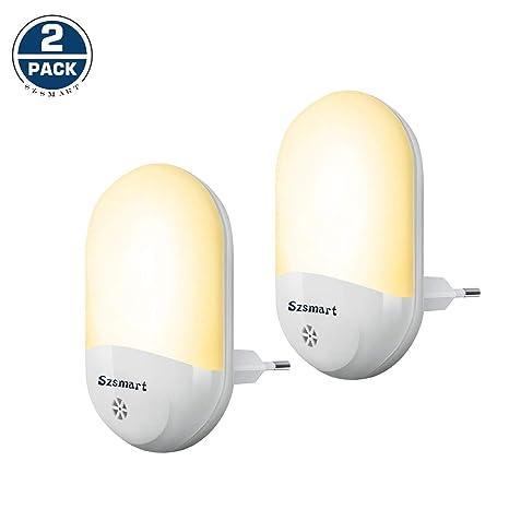 Lámpara Nocturna con Sensor Crepuscular, 0.7W LED Luz de Noche, Luz Quitamiedos Infantil