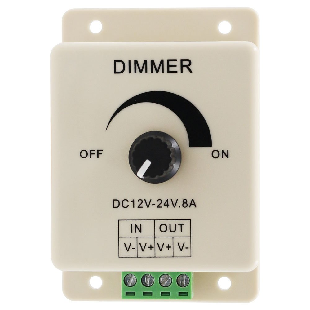 DC12-24V 8A PWM Manual Knob Dimmer Controller, 0%-100% PWM Dimming Control, Brightness LED Dimmer Switch for 5050/3528 Single Color LED Strips, Ribbon Lights, Tape Lights or Other LED Products