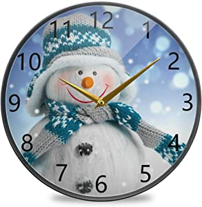KLL Acrylic 12 Inch Round Modern Home Wall Clock,Kitchen Office and Living Room Wall Decor Battery Operated Clock, Christmas Snowman in The