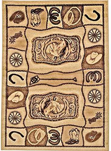 - Rugs 4 Less Collection Rustic Equestrian Western Cowboy Inspired Themed Accent Area Rug, Horse Shoe Lasso Cowboy Boots Branding Iron Wooden Carriage Wheel in Brown and Dark Brown R4L Lodge 374 (5x7)