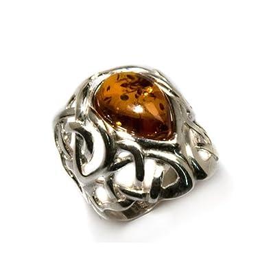 Baltic Honey Amber Sterling Silver Skull Men's Ring vPeUm5F