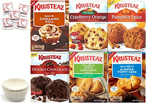 Krusteaz Muffin Mix Variety Pack #2 + Baking Liners + Sanitizing Hand Wipes. Cranberry Orange; Pumpkin; Apple Cinnamon; Double Chocolate; Cinnamon Roll; Almond Poppyseed. Bundle of 6, Gift Box