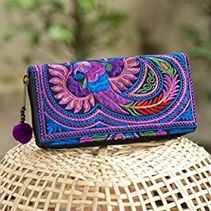 Cherr Bird Purse in Purple, Hmong Tribes Embroidered Wallet for Women