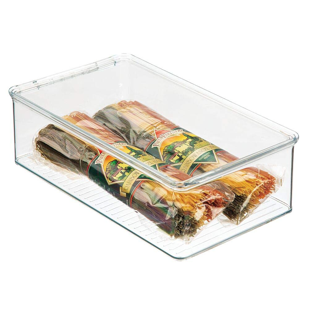 Cajas organizadoras de pl/ástico inocuo para cocina y despensa mDesign Organizador para nevera transparente Recipiente para guardar alimentos con tapa con bisagras