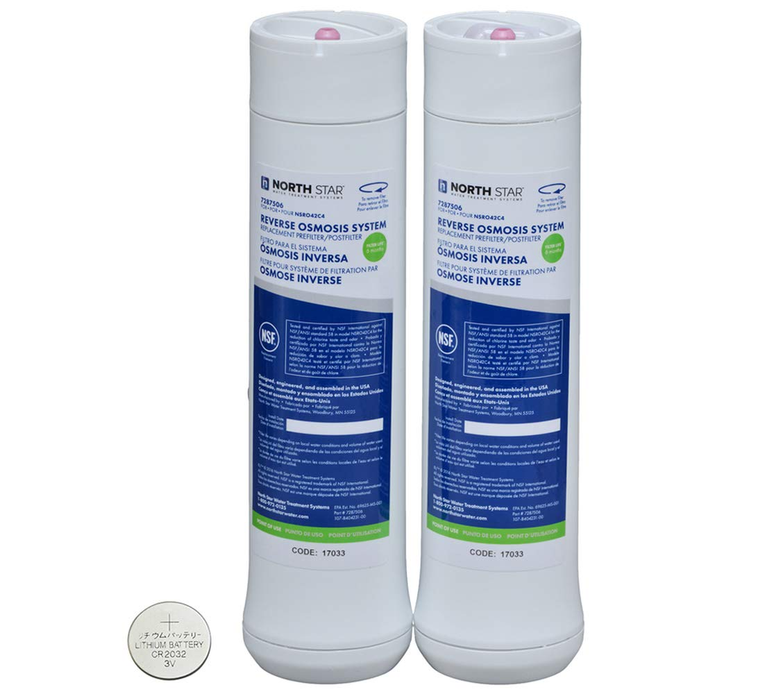 North Star Reverse Osmosis System - Pre & Post Filters and CR2032 Battery  Bundle Plus Station Tag