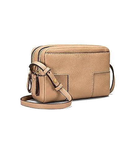 6b27e5452e69 Amazon.com  Tory Burch Block-T Double Zip Pebbled Leather Crossbody ...