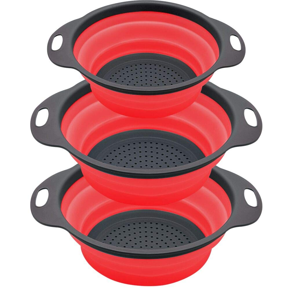 QiMH Collapsible Colander and Strainer Set of 3-2 PC 4 Quart(1 gal) and 1 PC 2 Quart(0.5 gal) - BPA Free & Dishwasher-safe Silicone Kitchen Foldable Strainer for Pasta, Veggies