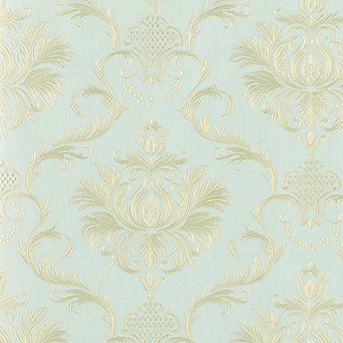 - Wopeite Damask European Vintage Luxury Wallpaper Gold Embossed Textured Paper Non-Woven Home Decor for Living Room Bedroom TV Backdrop light Blue