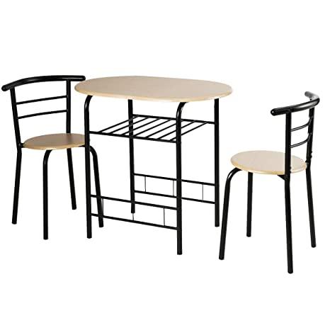 Amazon.com - 3 Pieces Compact Bistro Dining Set Table Chair ...
