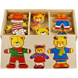 TONZE Wooden Bear Family Dress-Up Puzzle with Storage Case, 54 Pieces Wooden Puzzles Montessori Educational Toys Gift for 3 4 5 Year Old Girls Boys