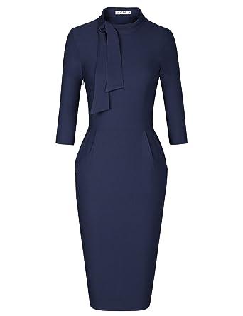 JUESE Womens 1950s New Look Long Sleeve Wear to Work Office Pencil Dress ...