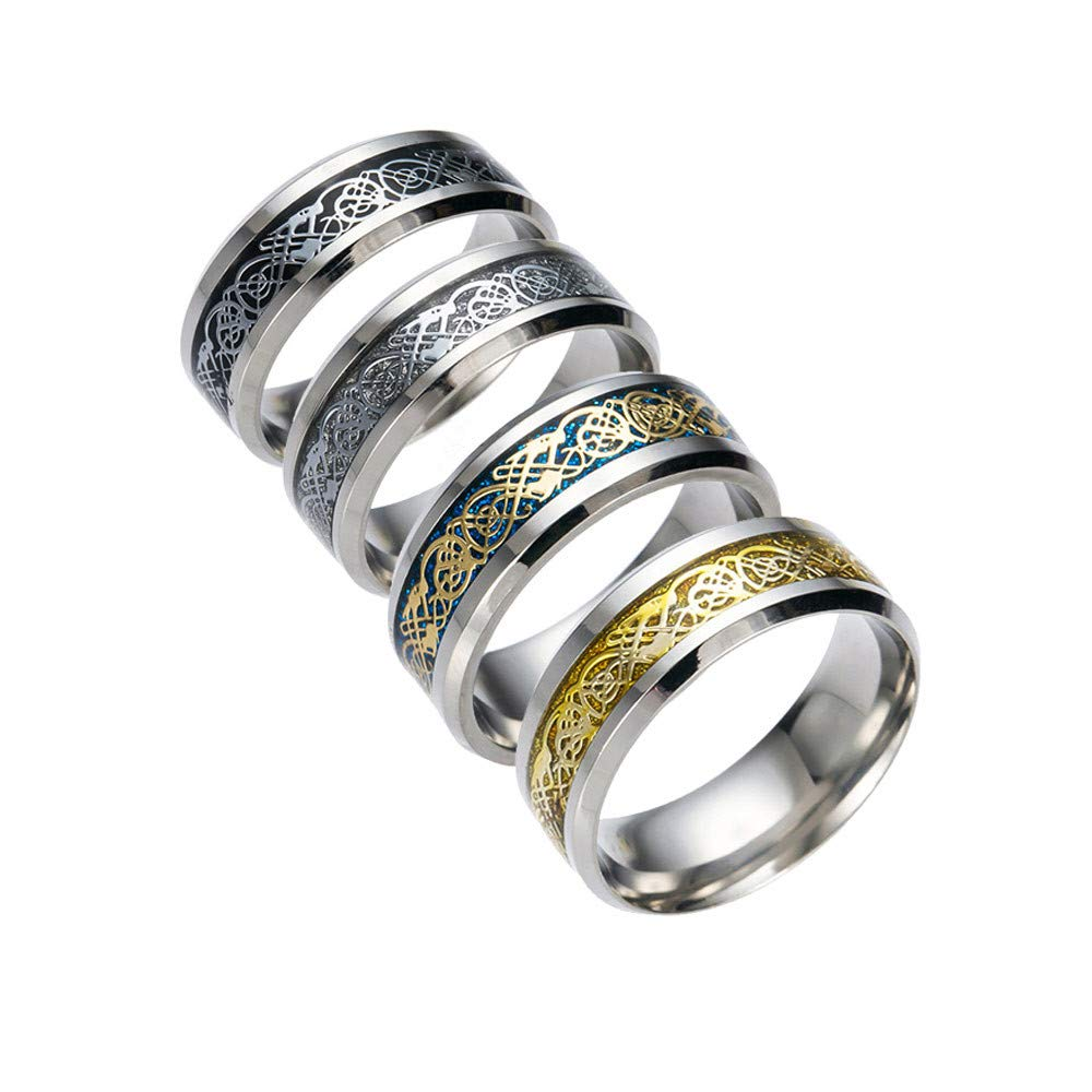 SMALLE ◕‿◕ Stainless Steel Rings for Men, Punk Dragon Stainless Steel Rings for Men Women Wedding Ring by SMALLE ◕‿◕ (Image #4)
