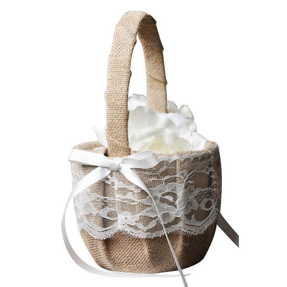 Handicraft Basket Romantic Burlap Lace Bow Basket Wedding Flower Girl Basket For Wedding Decoration Supplies 1 Set AccMart