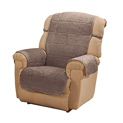 Oakridge Parker Sherpa Recliner Cover Mocha Water Resistant Polyester 48 X 23 Back Cover 30 5 X 23 Seat Cover 2 Arm Covers Of 21 X 16