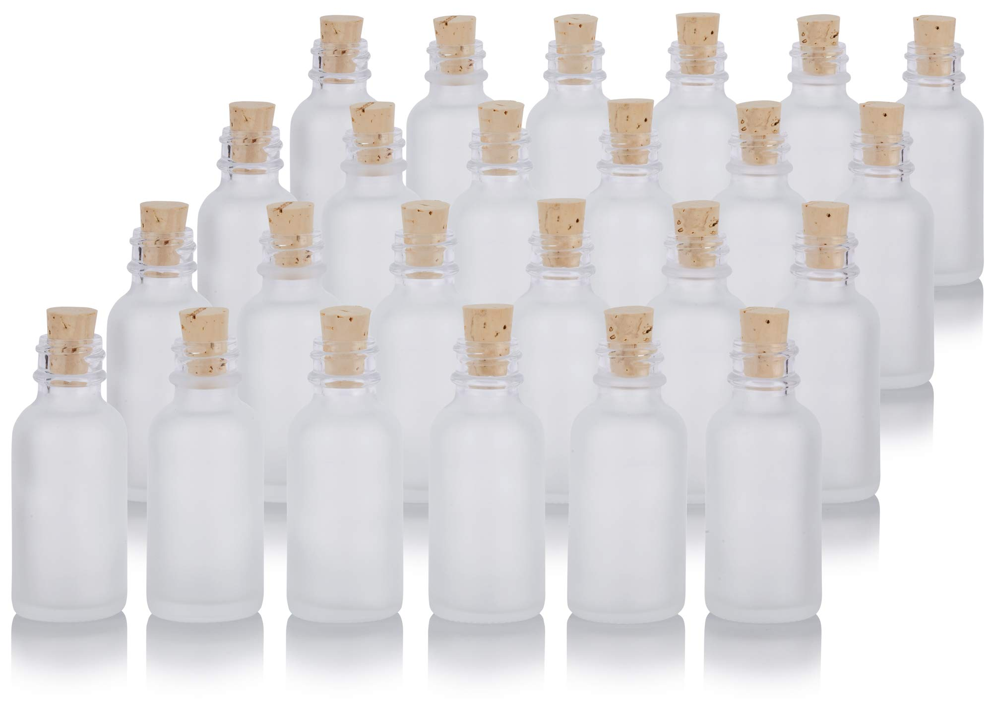 1 oz Frosted Clear Glass Boston Round Cork Stopper Bottle (24 pack) + Funnel and Labels for cosmetics, serums, essential oils, aromatherapy, food grade, bpa free