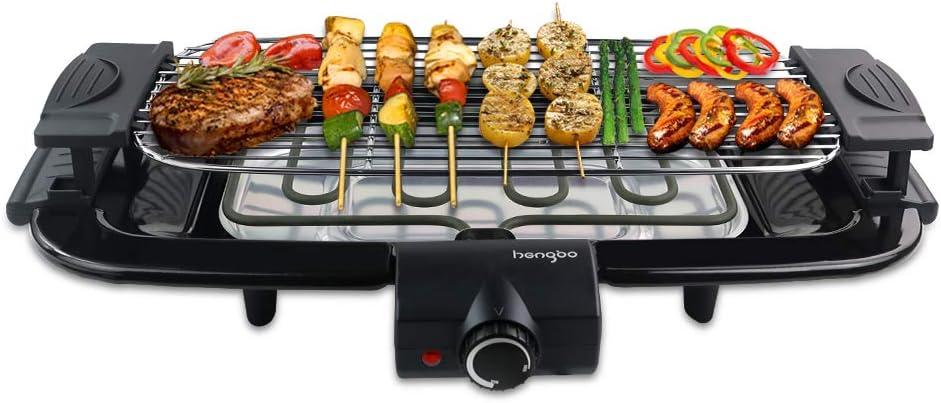 HengBO Grill Electrico Parrillas para Barbacoa Sin Humo Barbacoa Grill de Mesa con Bandeja Recoge Grasa, Altura und Temperatura Ajustable, para 6 Personas 2000W Negro