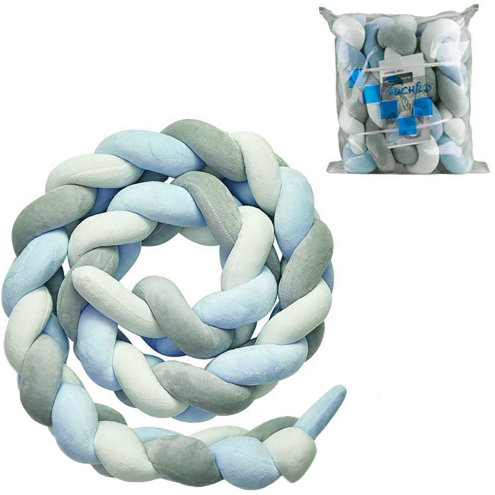 Luchild Baby Braided Crib Bumper Soft Snake Pillow Protective & Decorative Long Baby Nursery Bedding Cushion Knot Plush Pillow for Toddler/Newborn (White+Grey+Green)