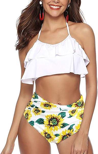 Conjunto de Bikini de Dos Piezas para Mujer con Cuello Halter Traje de ba/ño de Cintura Alta brasile/ño Biquinis Deporte con Shorts