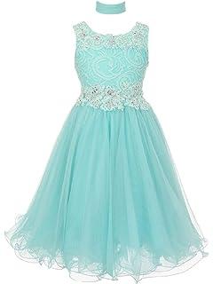 69f1d292885 Cinderella Couture Big Girls Aqua Lace Mesh Rhinestone Wired Flower Girl  Dress 8-16