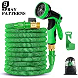 50FT Flexible Expandable Garden Hose with 9 Spray Patterns, Upgraded Retractable Water Hose with Triple Layer Latex Core&Fashion Brass Fitting & Extra Strong Fabric, Suitable for All Your Watering Needs