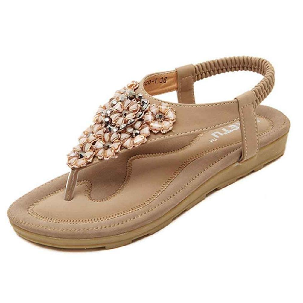Women Sandals, Familizo Summer Beach Shoes Sweet Beaded Flats Clip Toe Flats Bohemian Herringbone Sandals