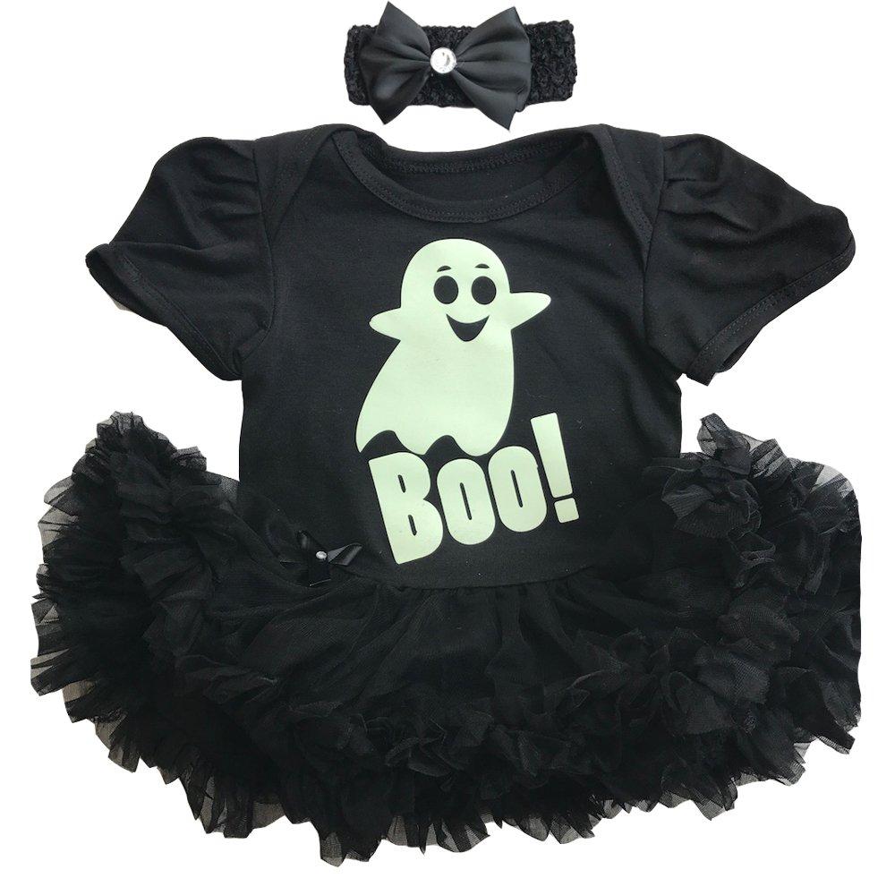 Little Secrets Childrens Clothing Halloween Baby Girl's Glow in The Dark Ghost Boo Tutu Romer with Headband Fancy Dress Costume