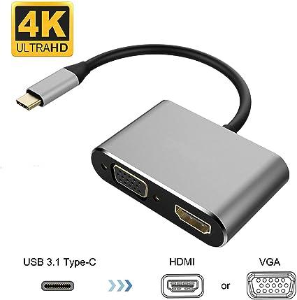 JIMAT 2 en 1 Tipo C 4 K Multipuerto AV Convertiridor, USB-C a HDMI VGA