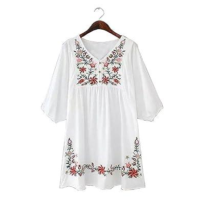 Paule Trevelyan NEW verão novo estilo de moda senhoras V pescoço Boho étnico bordado do vintage