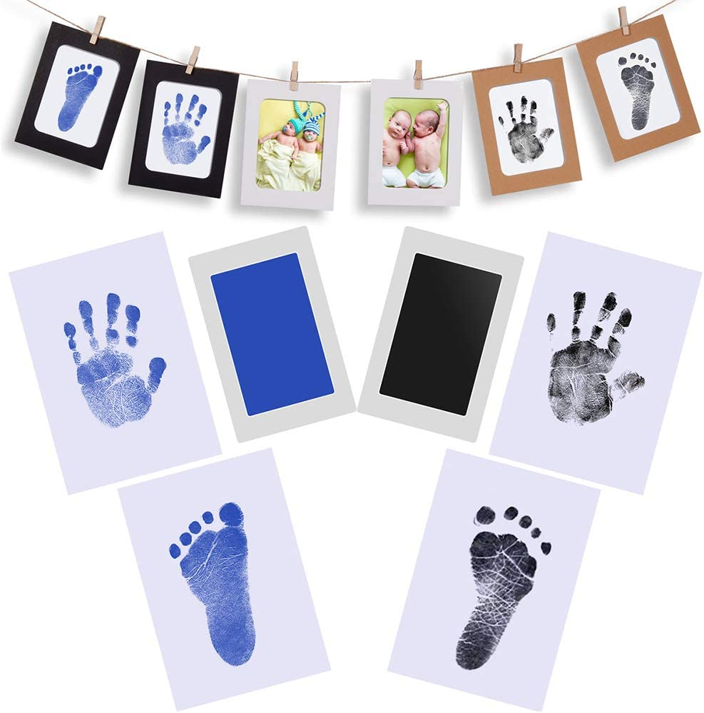 Baby Handprint and Footprint Photo Frame Kit for Newborn Boys and Girls PChero Inkless Print Kits for 0-6 Months Infant Shower Registry Personalized Gifts