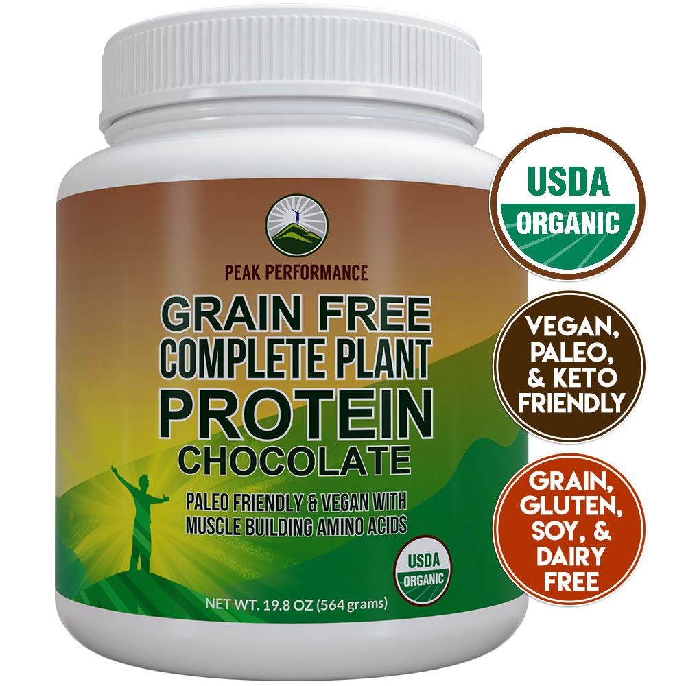Organic Paleo Grain Free Plant Based Protein Powder. Complete Raw Organic Vegan Protein Powder. Amazing Amino Acid Profile and Less Than 1g of Sugar. Hemp Protein Powder, Pea Protein Powder Chocolate by Peak Performance Coffee