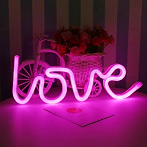 'Love' Shaped LED Neon Signs Decor Wall Decor Art Sign Light for Home Decoration, Bedroom, Lounge, Office, Wedding, Christmas Party Operated bylovelpopsicle (Love)