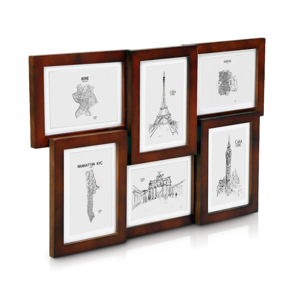 Solid Wood Rustic Brown Collage Frame - Holds Six 7x5 Photo Frames ...