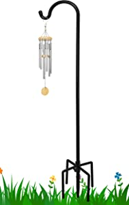 FEED GARDEN 60 Inch Shepherd Hook with 5 Prongs Base, 5/8 Inch Thick, Adjustable, Premium Metal, Heavy Duty Garden Hooks for Outdoor Hanging for Flower Basket, Bird Feeder, Lantern, Black(1 Pack)