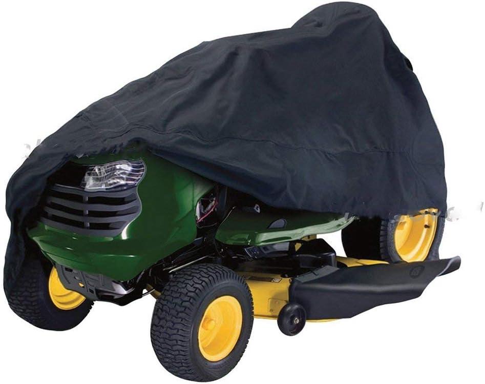 Cortacésped Funda - 210D Poliéster Oxford Exterior Impermeable Cubierta Protectora con/Elástico Dobladillo en Inferior para Tractor - Dust-Proof& UV Protección - Negro L, l